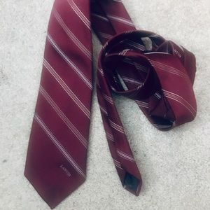 LANVIN Striped Burgundy and White Silk Necktie